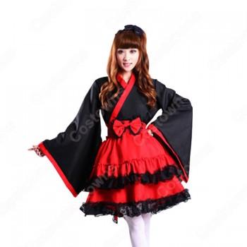 和風ワンピース コスプレ衣装 ロリータ風スカート 夏祭り浴衣 ミニ着物 和服