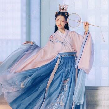 漢服 襦裙 コスプレ衣装 中国伝統衣装 古風 可愛い 中国時代劇 鳳凰刺繍 学園祭 お花見 おしゃれコス服