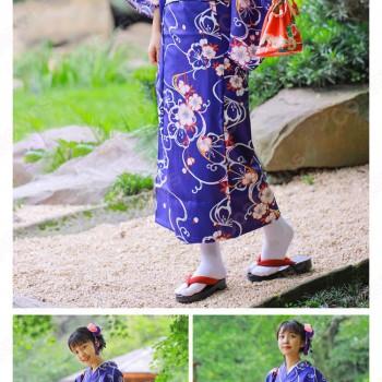 女性浴衣 和服 着物 日本伝統服 舞台衣装 コスプレ衣装 コスチューム 写真撮影 演出服 紺色 花柄