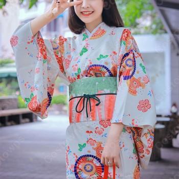 女性浴衣 和服 着物 日本伝統服 舞台衣装 コスプレ衣装 コスチューム 写真撮影 演出服 傘柄 花柄