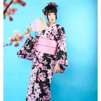 女性浴衣 和服 着物 日本伝統服 舞台衣装 コスプレ衣装 コスチューム 写真撮影 演出服 桜柄