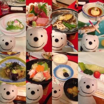 クマの古道散歩:渡瀬温泉ホテルささゆりで品行方正なクマは料理を堪能