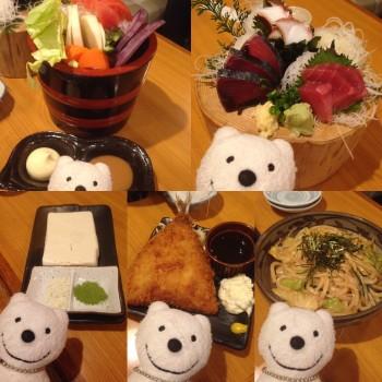 先日の神奈川野菜の盛合せ、本日のお刺身盛合せ、塩豆腐 (わさび 抹茶)、ちょっと大きめのアジフライ&明太子焼きうどん/居酒屋かもん