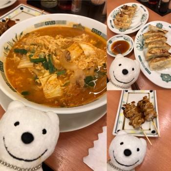 先日のチゲ味噌ラーメン、餃子&国産豚串シロタレ/日高屋