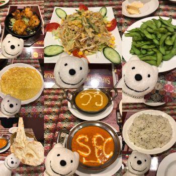 先日のガーリックティッカ、グリーンサラダ、枝豆、チーズオムレツ、チキンカレー、シーフードカレー、ジラライス&プレーンナン/サフロン