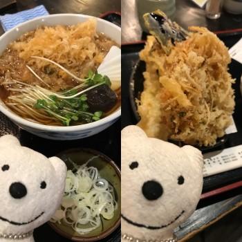 先日の たぬきそば、ごぼう、穴子、なす&かぼちゃ天ぷら/味奈登庵