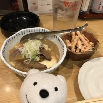 先日の もつ煮込み豆腐&米焼酎水割り/はないち