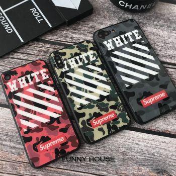 OFF-WHITE&SUPREME迷彩Iphone X/8カバーシュプリーム英文字レッドハンドスピナー付き