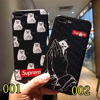 シュプリームIphone8/7カバーポケット付き収納 Supreme猫中指GALAXYs9/S9+カバーアメリカブランドRipndip