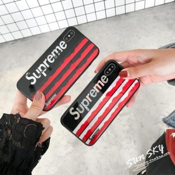 ブランドシュプリームS9カバージャケットチェックSupreme IphoneXカバー潮流英字ストライプガラス