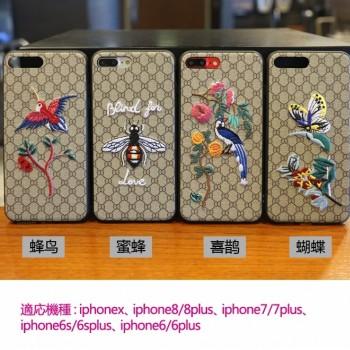 iphonex/xplusケース GUCCI グッチiphone8/8plusケース 刺繍 花柄 女性向け!
