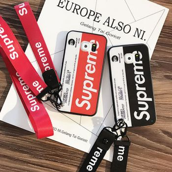 supreme galaxy s9/s9 plusケース ストラップ付き ブランド ミッキー革製iphone xケース激しい登場