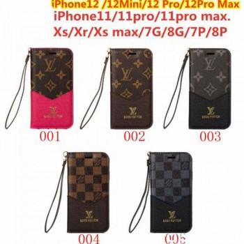 ヴィトン iPhone12/12miniケース 手帳型 手持ちバンド付き LVアイフォン12プロ MAXスマホケース