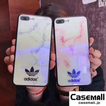 アディダス iPhoneXS/XS MAX ガラスケース 鏡面 ブルーレイ iphonex/8plus 携帯カバー