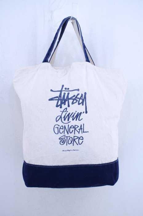 STUSSY (ステューシー) 2WAY ロゴプリントキャンバストートバッグ メンズ バッグ