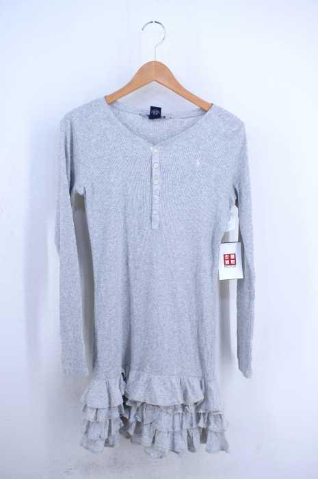 RALPH LAUREN (ラルフローレン) 胸ポニー刺繍 ヘンリーネック 裾フリル装飾サーマルワンピース レディース ワンピース