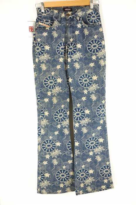 DIESEL (ディーゼル) 和柄インディゴ染フレアパンツ メンズ パンツ