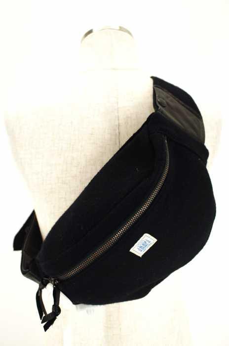 RUDE GALLERY BLACK REBEL (ルードギャラリーブラックレーベル) ウール×レザー ウェストバッグ ボディバッグ メンズ バッグ