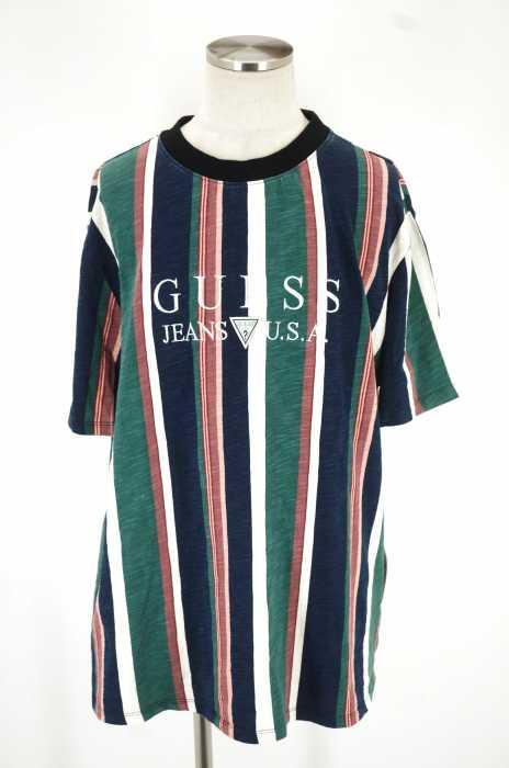 GUESS JEANS (ゲスジーンズ) ロゴ刺繍ストライプ半袖Tシャツ メンズ トップス