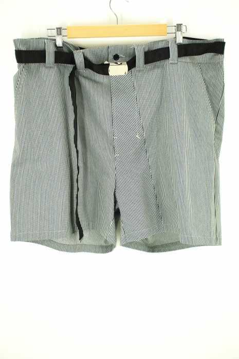 Rene Gurskov (レネガルスコフ) ベルト付きストライプワイドハーフパンツ メンズ パンツ