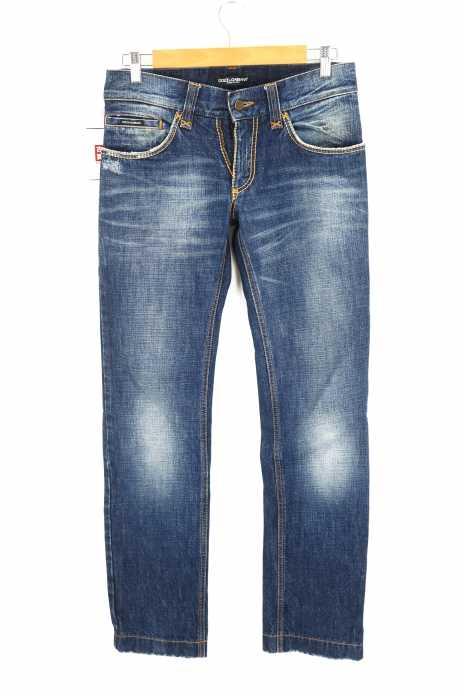 DOLCE&GABBANA (ドルチェアンドガッバーナ) パイソンレザーパッチ Wジップ 加工デニムパンツ メンズ パンツ