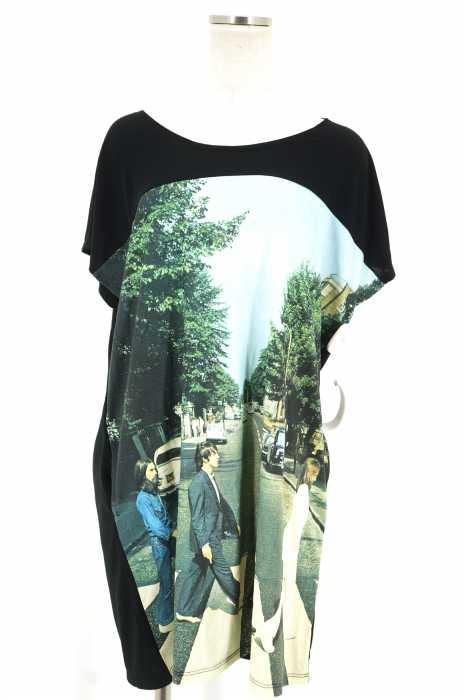 Design Tshirts Store graniph × The Beatles(デザインティーシャツストアグラニフ ビートルズ) アーティストコラボフォト転写ビッグノースリーブ レディース トップス