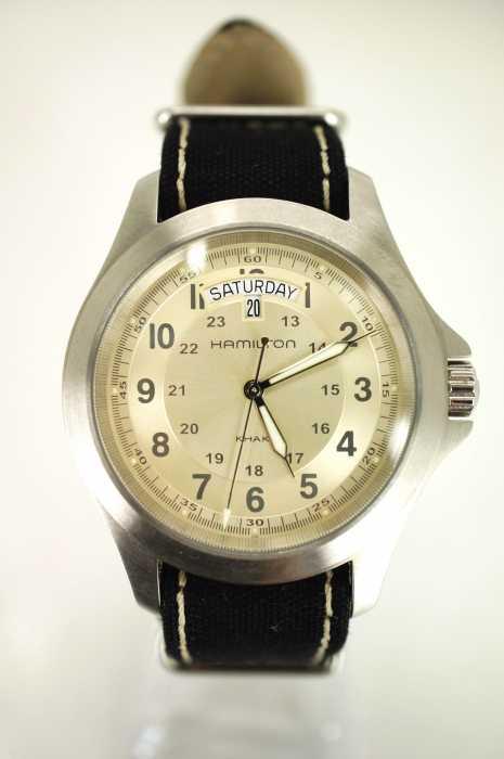 HAMILTON(ハミルトン) H644510 シルバー文字盤 キャンバスベルト 腕時計 メンズ ファッション雑貨