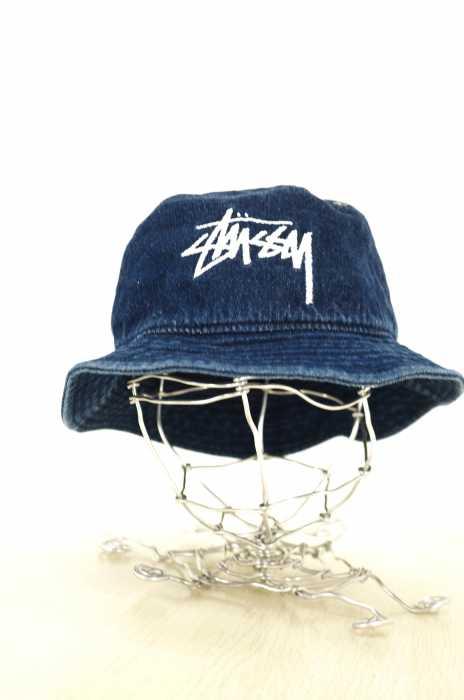 STUSSY (ステューシー) ロゴ刺繍 デニムバケットハット レディース 帽子