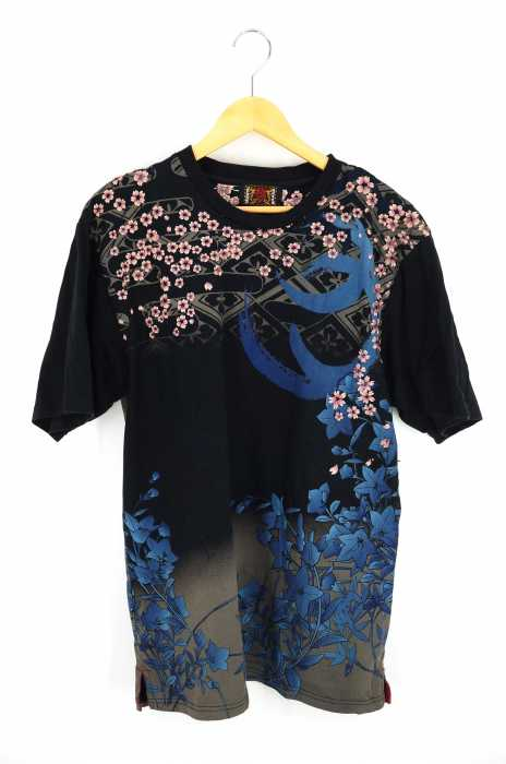 ORIENTAL BRAND 錦(オリエンタルブランドニシキ) 総柄刺繍Tシャツ メンズ トップス