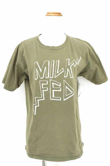 MILKFED. (ミルクフェド) S/S TEE JAGGY ロゴプリント クルーネック Tシャツ レディース トップス