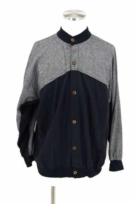USED (ブランド不明) 2トーンリブボタンシャツ メンズ トップス