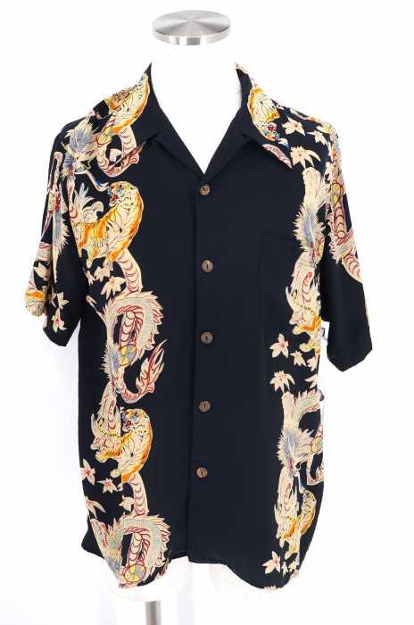 AVANTI SILK (アヴァンティシルク) 総柄シルクシャツ オープンカラー 開襟シャツ メンズ トップス