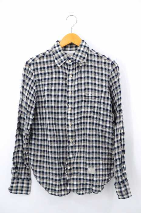 A(LefRUDE)E(アレフルード) リネン混チェック柄ボタンダウンシャツ メンズ トップス