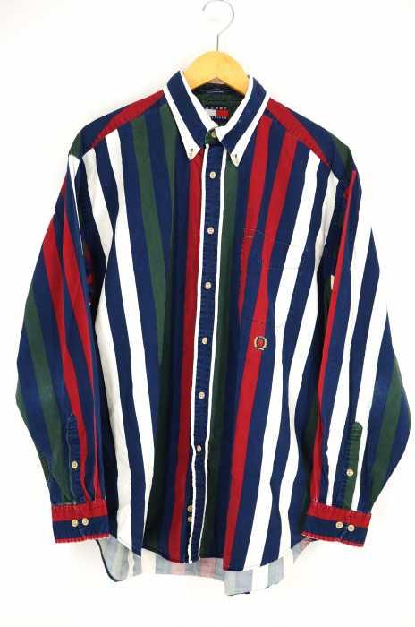 TOMMY HILFIGER (トミーヒルフィガー) 90S マルチストライプ柄BDシャツ メンズ トップス