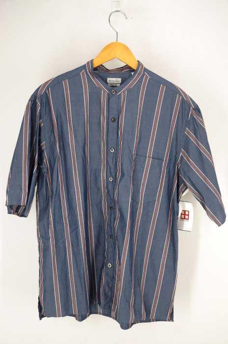 Steven Alan (スティーブンアラン) ストライプ柄半袖バンドカラーシャツ メンズ トップス