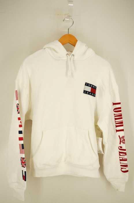 tommy jeans(トミージーンズ) 袖プリントプルオーバーパーカー レディース トップス
