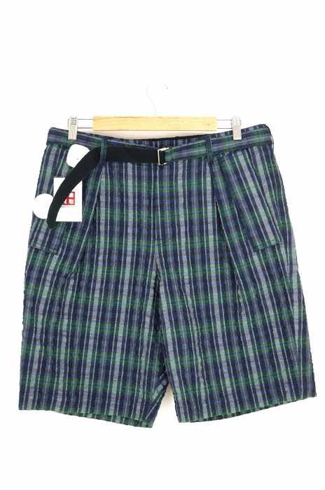 Sacai(サカイ) チェック柄シアサッカーベルテッドハーフパンツ メンズ パンツ