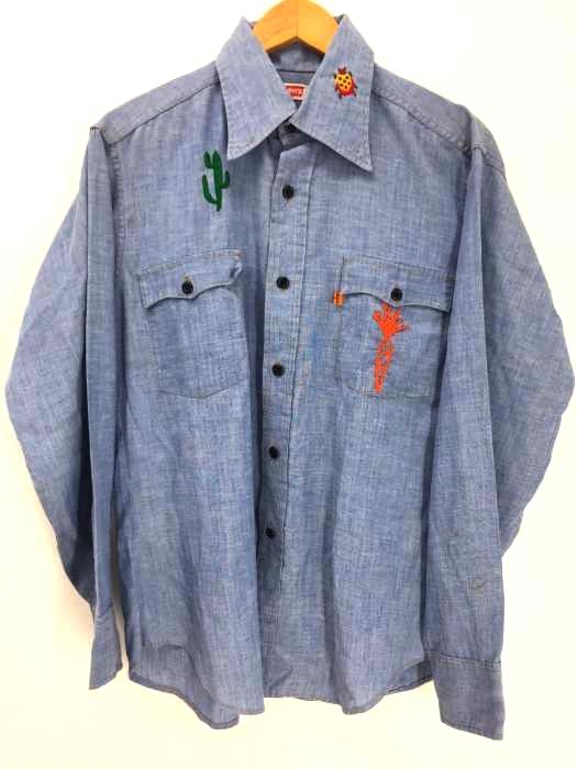 Levi's(リーバイス) 70s オレンジタブ デニム刺繍シャツ テントウムシ 人参 サボテン 島 メンズ トップス
