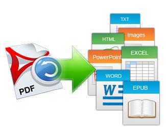 PDFをWord(.doc/.docx)、Excel(.xls)、PowePoint(.ppt)に変換。