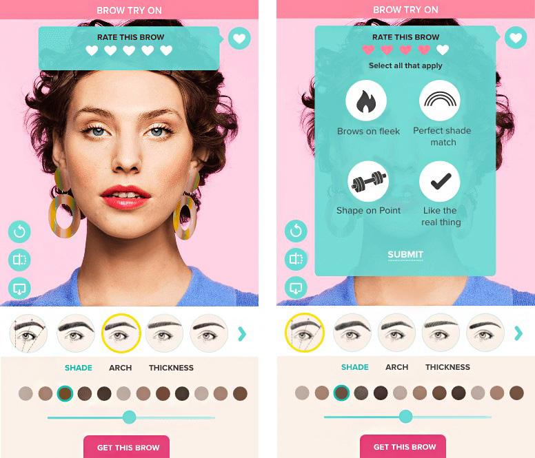 Benefit Cosmetics virutal brow try on
