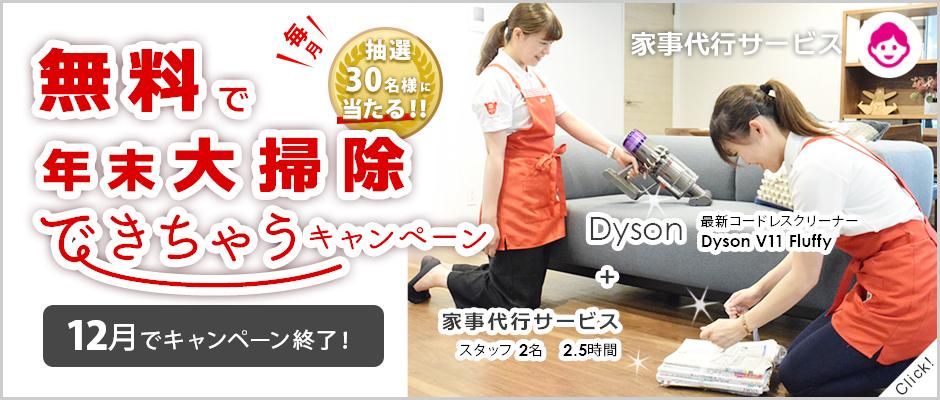 家事代行2.5時間+Dyson最新コードレスクリーナー無料体験プレゼントで年末大掃除