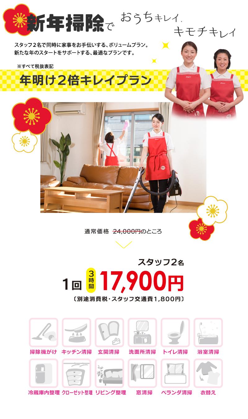 家事代行・スタッフ2名で新年掃除キャンペーン詳細内容