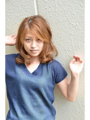 【可愛いミディアムスタイル】夏だ!ハイトーンカラー♪
