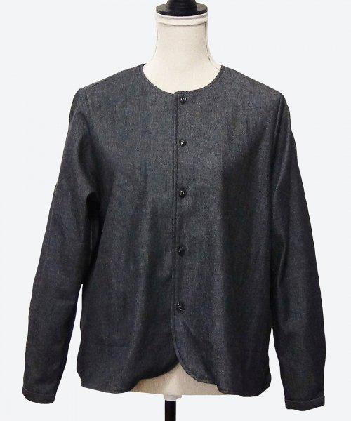 denim collarless shirt jacket