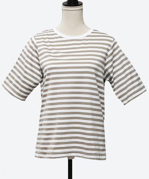 10mm stripe half-length sleeve tee