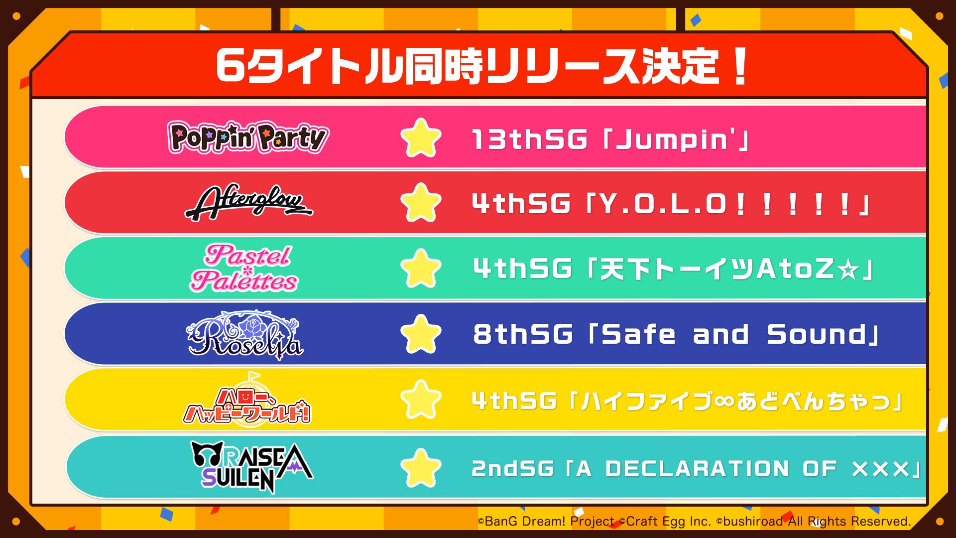 2019年2月20日(水)発売 BanG Dream!シングル6タイトル連動同時購入特典実施決定!