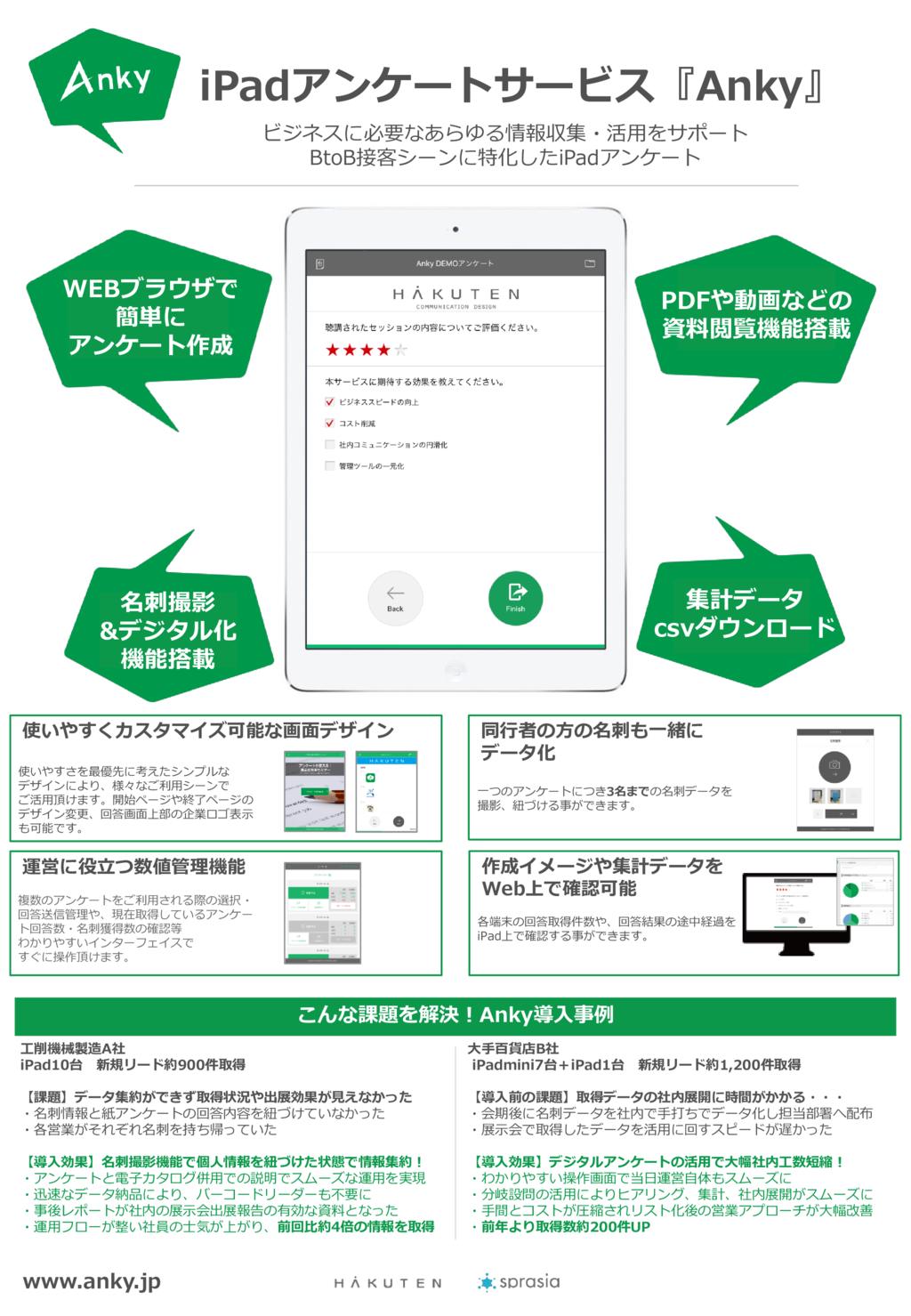 Anky −ビジネスに特化したiPadアンケートの資料