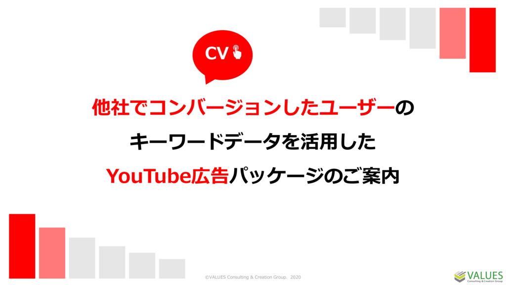 他社でコンバージョンしたユーザーのキーワードデータを活用したYouTube広告パッケージの資料