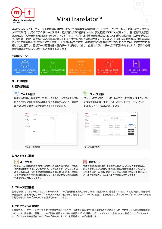 Mirai Translator®の資料