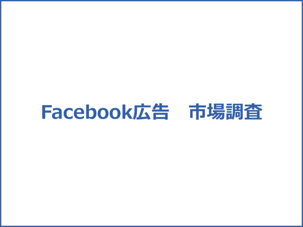 Facebook内で表示されるFacebook広告の市場調査の資料